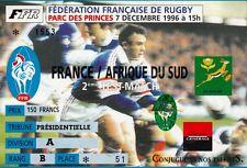 """BILLET MATCH DE RUGBY """"FRANCE / AFRIQUE DU SUD / 7 DECEMBRE 1996""""..."""