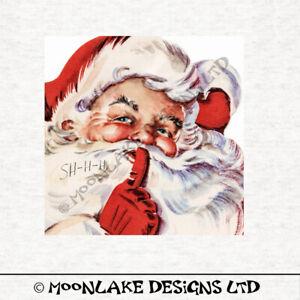 Santa, Vintage 1950  Shh Santa - Fabric Craft Panels in 100% Cotton or Polyester