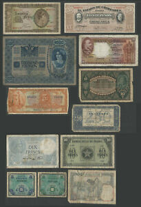 Lot 12 Circulated WWII or Earlier WORLDWIDE CURRENCIES BILLS Several Countries