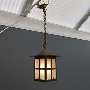 Vintage Brass Porch Ceiling Lantern Old Hanging Glass Pendant Hall Light Lamp