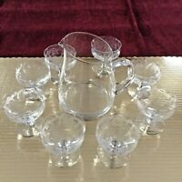 Gorgeous Glass Pitcher with 6 Thistle Etched Champagne Crystal Glasses