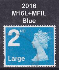 2016 Machin 2nd Class Large Bright Blue SG U3032 M16L+MFIL 2B Walsall Used Stamp