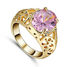 Ring Size 7 CZ Pink  Topaz Crystal Lady's 18K Yellow Gold Filled Wedding