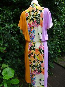 ETRO Couture Kleid 100%Seide Gr.38/40 (it.46) Gelb/Orange Flieder Edel! NP1290€