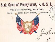 Patriotic Order Sons of America State Camp Philadelphia Flag S 1904 PA Cover 6x