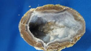 Dugway Geode Half, Cut & Polished With Beautiful Calcite Nodules & Banded Agate