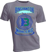 Binghamton WHALERS DEFUNCT NHL OLD TIME HOCKEY Grey T-SHIRT NEW Vintage Rare G7