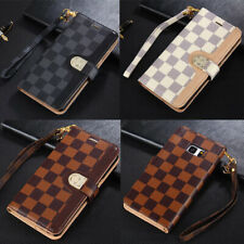 Fashion Grid Wallet Leather Stand Card Case Cover for Samsung Galaxy S20 Note 10