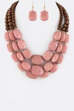 Womens Fashion Mix Beads Layered Necklace Earring Jewelry Accessory Set