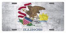 ILLINOIS State Flag  Custom License Plate State Emblem METAL Version