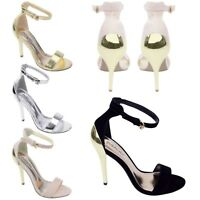 Ladies Ankle Strap Evening Prom Party Women Stiletto High Heel Sandal Shoes Size