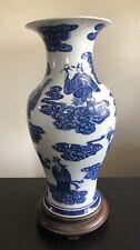 Fine Chinese Blue White Porcelain Vase 8 Immortals Gods Cobalt Art Clouds