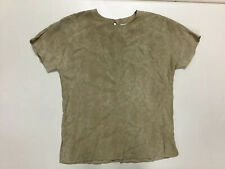 A.K.F brown women's short sleeve button back formal flowing top size Small
