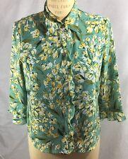 Emma James Petite 10 2-pc Blouse & Camisole Yellow & White Floral Seafoam Green