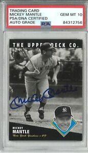 UDA MICKEY MANTLE SIGNED 1994 UPPER DECK HEROES AUTO PSA 84312756 GEM MINT 10