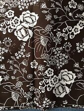 """Brother Sister Brown Rose Floral Fabric White Flowers 2 Y X 45"""" Wide 100% Cotton"""