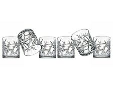 Godinger Clique Drinkware Set of 6 Cut Crystal Double Old Fashioned Glasses