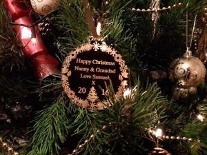 FIRST CHRISTMAS AS MR & MRS LEWIS CHRISTMAS TREE DISC PERSONALISED KEEPSAKE