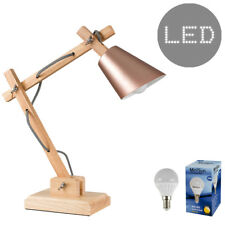 Rose Gold Adjustable Wood Stem Desk Lamp Reading Light Task Lighting LED Bulb Yes