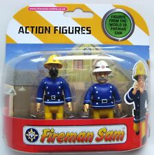 FIREMAN SAM 2 FIGURE SET - SAM IN MASK WITH OFFICER STEELE AS IMAGE - NEW!