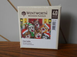 CATS SELFIE mini wooden 40 piece jigsaw puzzle with whimsies WENTWORTH Christmas