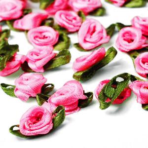 50pcs Satin Ribbon Rose Flower Craft Wedding Appliques Favor DIY Lots OBRN31