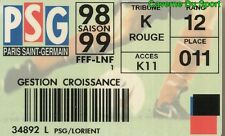 CARTE ABONNEE MATCH PARIS SAINT-GERMAIN PSG Vs FC.LORIENT 1-2 D1 # 29-08-1998