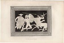 1848 MOSES Antique Engraving: ANCIENT ETRUSCAN VASE ORNAMENT Greek Art Decor 23