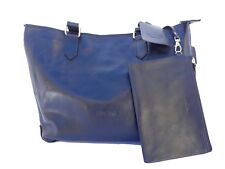 BUCINI Handmade Genuine Leather Cowskin Women's Tote Bag with Pouch-BLACK