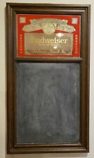 "New listing Vintage Budweiser Mirror Sign Chalkboard Bar Sign Faux Wood 1983 31"" x 17.5"""