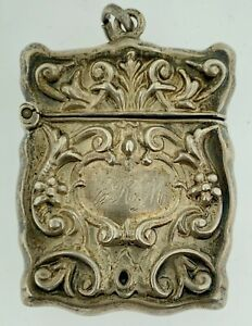 Antique Marked Sterling Art Nouveau Style Stamp Case Holder for Chatelaine 4.1 G