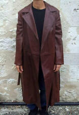 Vintage long jacket leather brown coat woman Long manteau cuir brun clair femme