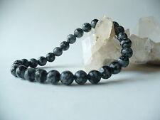 Bracelet élastique en obsidienne mouchetée 6 mm - gris pierre fine gemme mixte