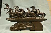 """20.8"""" Rare vieux Chinois Cuivre Feng Shui Huit chevaux Succès chance Ornements"""