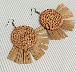 Round Brown Raffia/Tassel/Boho/Rattan/Straw Drop Earrings *NEW*