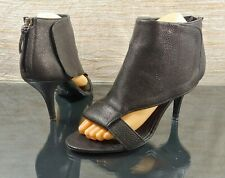 GIVENCHY Women's Sz 38.5 / 8 Black Leather Peep Toe Heel Bootie Zip Ankle Boots
