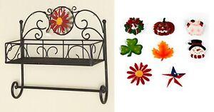 Changing Seasons Metal Basket Wall Shelf Towel Bar Rack with 8 Holiday Icons