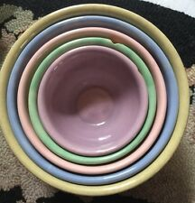 Antique Stoneware Mixing Bowls Nesting Set Of 5 Pink Purple Turquoise VERY RARE