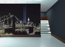 Mural DE PARED FOTO Nueva York Luces Papel Pintado 366x254cm en torre de doble pared Arte Negro