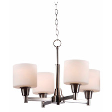 Hampton Bay Oron 4-Light Brushed Steel Chandelier w/ White Glass Shades