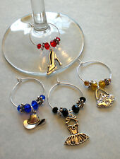 Girls Night Out! Cute Girly Girl Themed Wine Glass Party Charms Set of 4