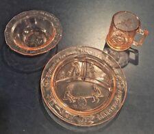 Vintage Childrens Dinnerware Set / Tiara by R.S. Nursery Rhyme Rose Glass NIB
