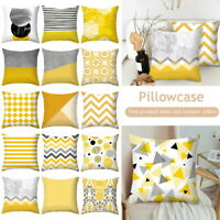 Cotton Linen Sofa Throw Pillow Case Home Car Waist Decor Yellow Cushion Cover S