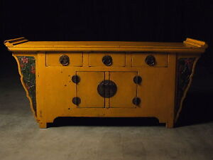 Antique Chinese Yellow Winged Sideboard Buffet Server