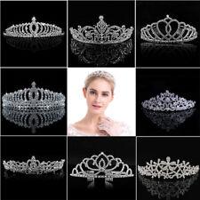 Silver Bridal Veil Tiara Diamante Rhinestone Crown Wedding Party Prom Headband