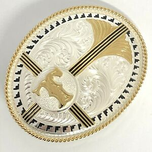 Montana Silversmiths Columbus Belt Buckle Silverplate Initial T 10x8cm 4026 CP