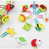 6 Pairs Cute Mini Animal School Supplie Cartoon Wooden Paper Clips Bookmarks