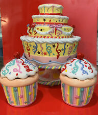 Partylite Celebration Birthday Cake on Pedestal And Two Cupcakes
