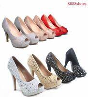 Women's Sexy Bridal Lace Mesh Glitter Peep Toe High Heel Platform Shoes Siz 5-10