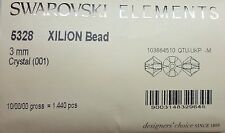 3mm Xilion Bicone Swarovski Clear Crystal (5328) - Factory Pack - 1440 Pieces